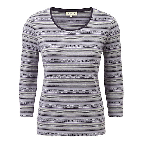 Buy Viyella Fairisle Jersey Top, Lavender Online at johnlewis.com