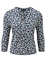 Viyella Petite Printed Jersey Top, French Navy