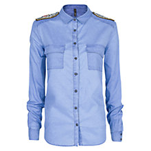 Buy Mango Embellished Denim Shirt, Medium Blue Online at johnlewis.com