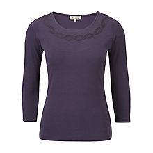 Buy Viyella Rope Trim Jersey Top, Blackberry Online at johnlewis.com