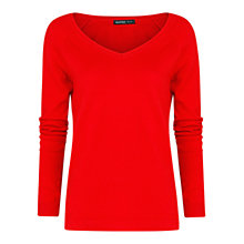 Buy Mango V-Neck Jumper, Bright Red Online at johnlewis.com