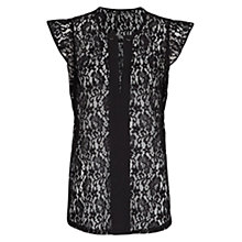 Buy Mango Ruffled Lace Top, Black Online at johnlewis.com