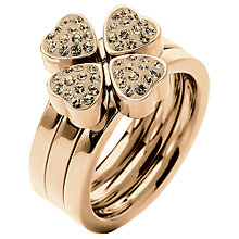 Buy Folli Follie Heart4Heart Triple Band Crystal Ring, Rose Gold Online at johnlewis.com