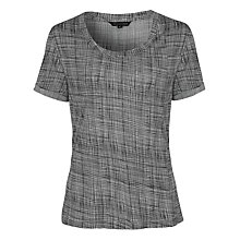 Buy French Connection Texture Checked Jersey Top, Black Online at johnlewis.com