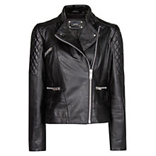 Buy Mango Quilted Panelled Leather Jacket,Black Online at johnlewis.com