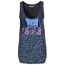 Buy French Connection Sequin Stripe Vest, Black/Multi Online at johnlewis.com