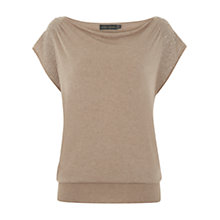Buy Mint Velvet Beaded Knitted Top, Pale Pink Online at johnlewis.com