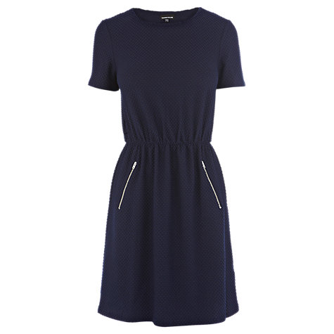 Buy Warehouse Textured T-Shirt Dress, Navy Online at johnlewis.com