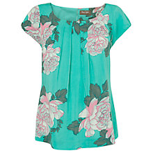Buy Phase Eight Sandy Floral Print Top, Aqua Online at johnlewis.com