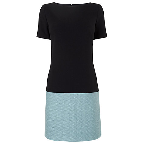 Buy Phase Eight Tweed Colour Block Dress, Black/Blue Online at johnlewis.com