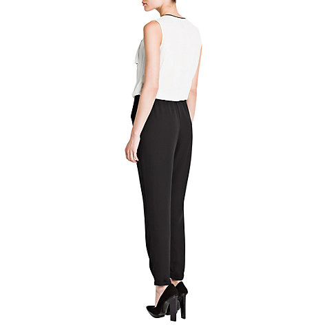 Buy Mango Colour Block Combi Jumpsuit, Natural White/Black Online at johnlewis.com