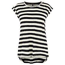 Buy Warehouse Stripe Jacquard T-Shirt, Black Stripe Online at johnlewis.com