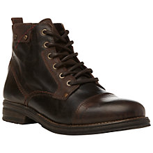 Buy Dune Cayman Leather Lace Up Boots, Brown Online at johnlewis.com