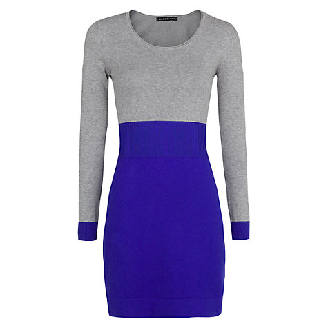 Buy Mango Elastic Waist Bicolour Dress, Bright Blue Online at johnlewis.com