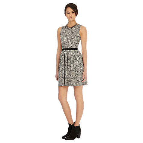 Buy Warehouse Paisley Print Skater Dress, White Online at johnlewis.com
