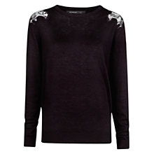 Buy Mango Lace Detail Sweater, Black Online at johnlewis.com