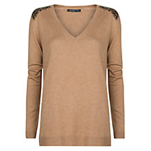 Buy Mango Sequined Cotton Jumper, Medium Brown Online at johnlewis.com