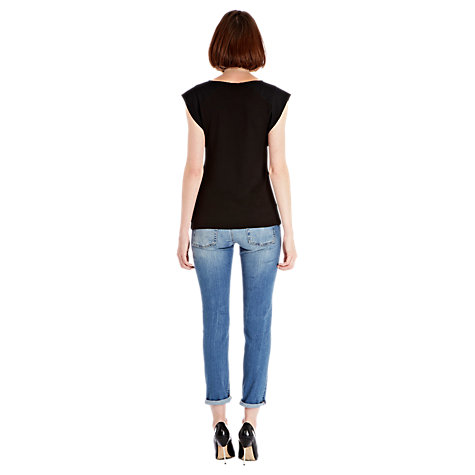 Buy Warehouse Ruffle Top, Black Online at johnlewis.com