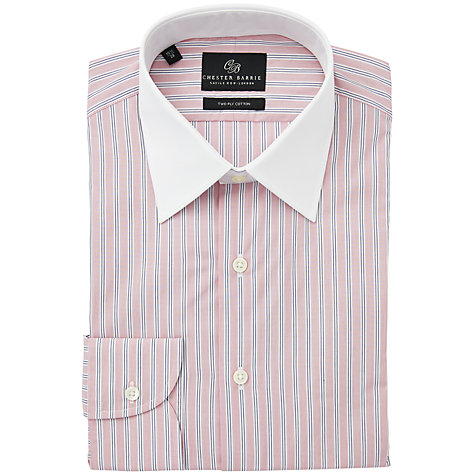 Buy Chester Barrie Peter Stripe Contrast Collar Long Sleeve Shirt Online at johnlewis.com