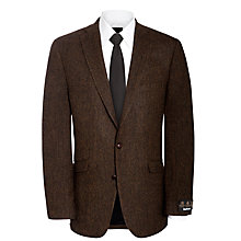Buy Barbour Baste Herringbone Wool Jacket, Brown Online at johnlewis.com