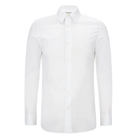 Buy Hardy Amies Plain Poplin Long Sleeve Shirt, White Online at johnlewis.com