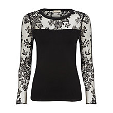 Buy Planet Lace Panel Jumper, Black Online at johnlewis.com