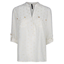 Buy Mango White Floral Blouse, Natural White Online at johnlewis.com