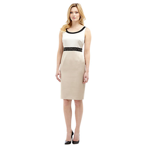 Buy Planet Embellished Satin Dress, Neutral Online at johnlewis.com