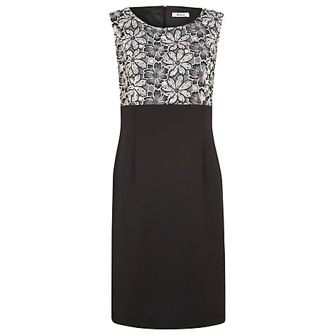 Buy Precis Petite Floral Detail Dress, Black/Ivory Online at johnlewis.com