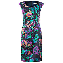 Buy Precis Petite Floral Print Satin Dress, Multi/Dark Online at johnlewis.com