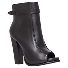 Buy KG by Kurt Geiger Sofie Leather Peep-Toe Ankle Boots, Black Online at johnlewis.com
