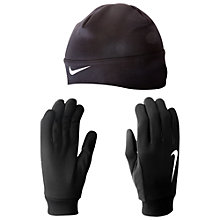 Buy Nike Men's Thermal Beanie And Gloves Set, Black Online at johnlewis.com