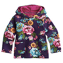 Buy Little Joule Girls' Sara Floral Hooded Top, Purple Online at johnlewis.com