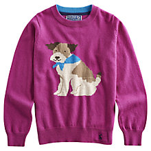 Buy Little Joule Girls' Woodley Dog Jumper, Pink Online at johnlewis.com