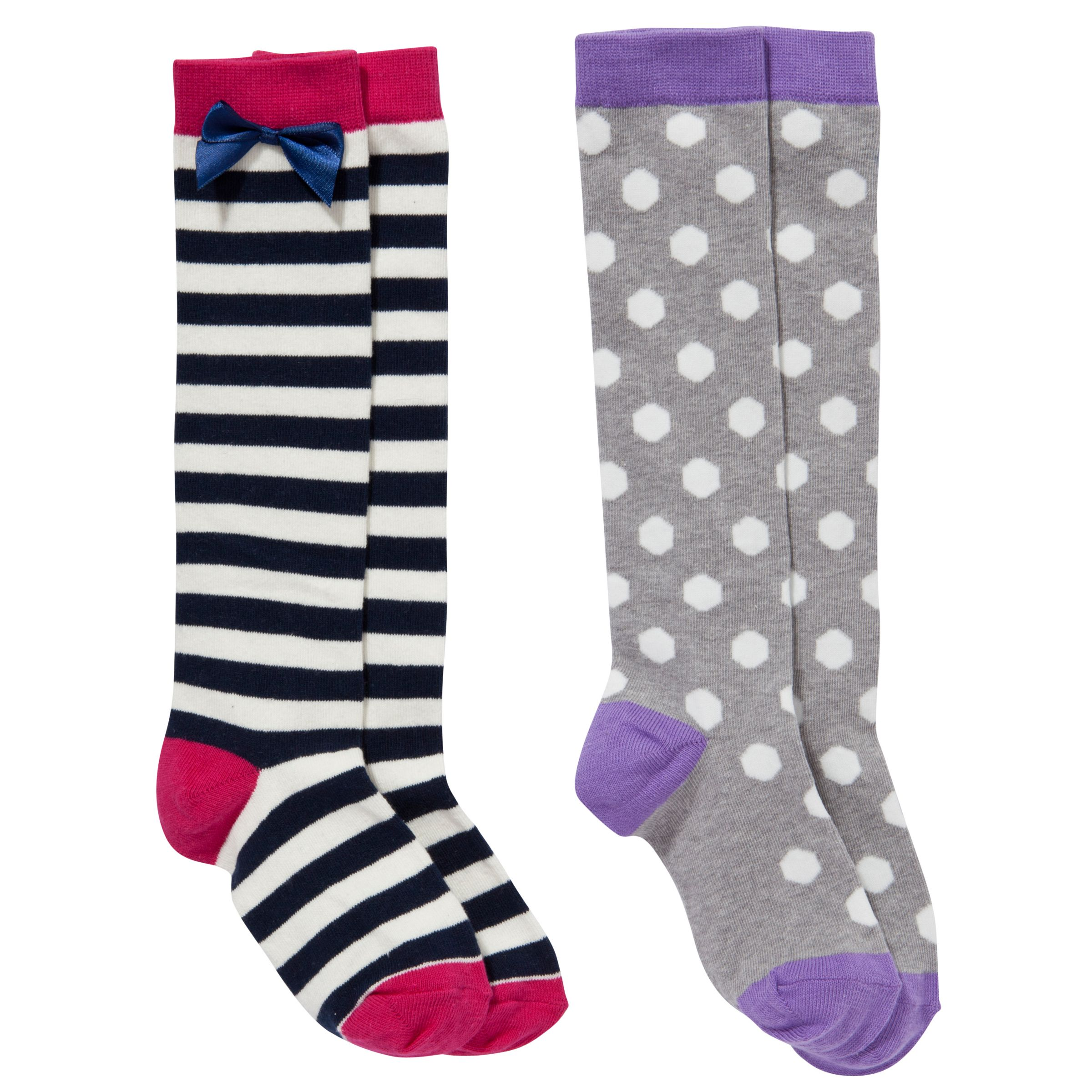 John Lewis Girl Knee High Socks, Pack of 2, Multi