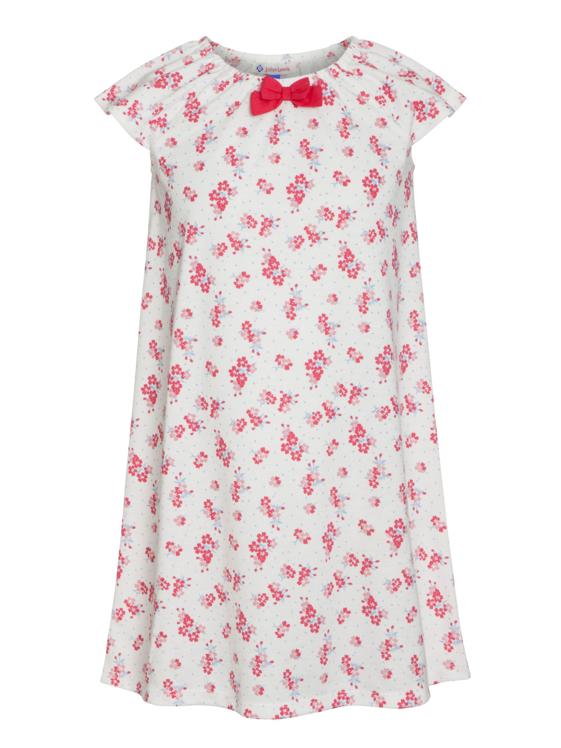John Lewis Girl Short Sleeve Floral Print Nightdress, Cream