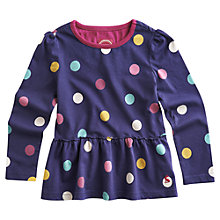 Buy Little Joule Girls' Leanne Jersey Spot Top, Purple Online at johnlewis.com