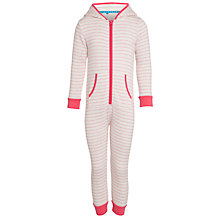 Buy John Lewis Girl Hooded Stripe Onesie, Pink Online at johnlewis.com