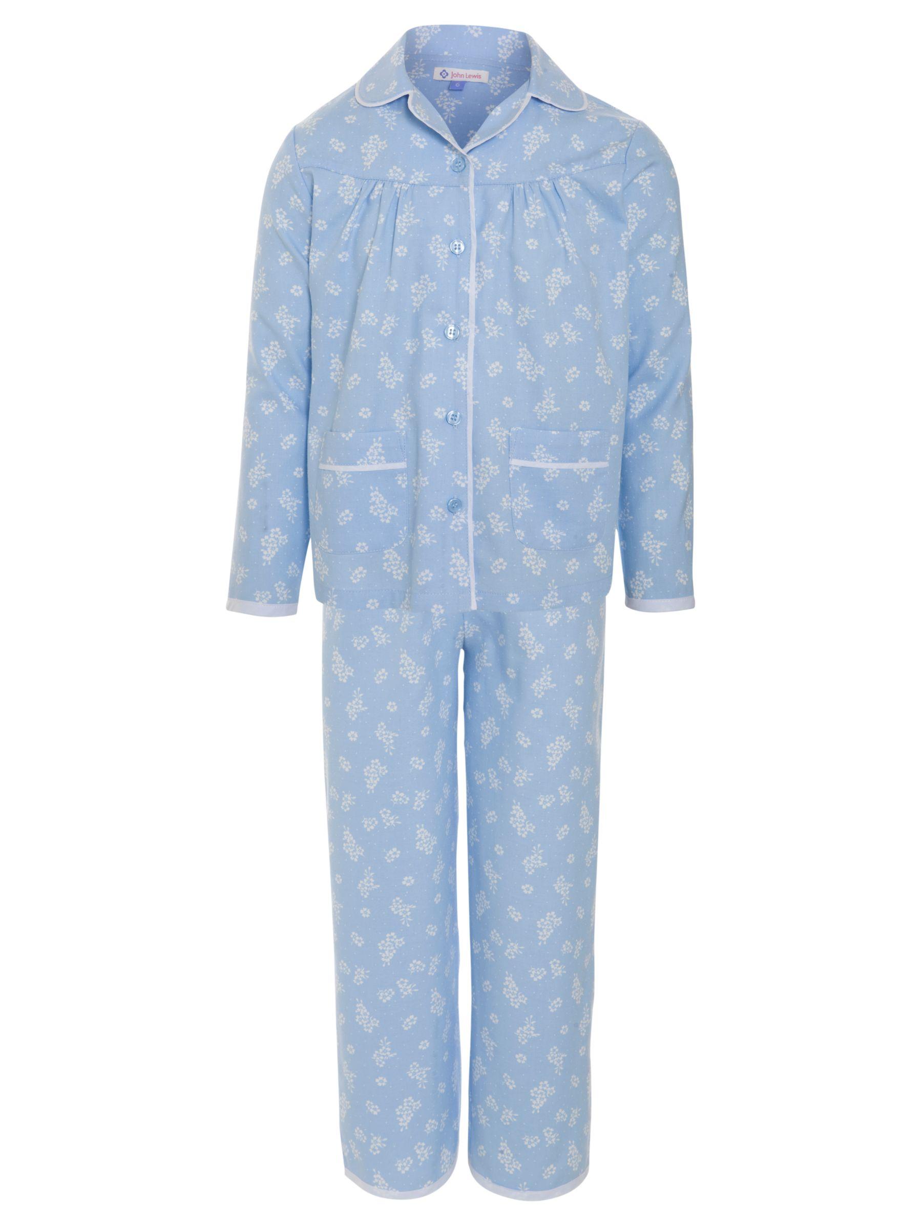 John Lewis Girl Ditsy Print Pyjamas, Blue
