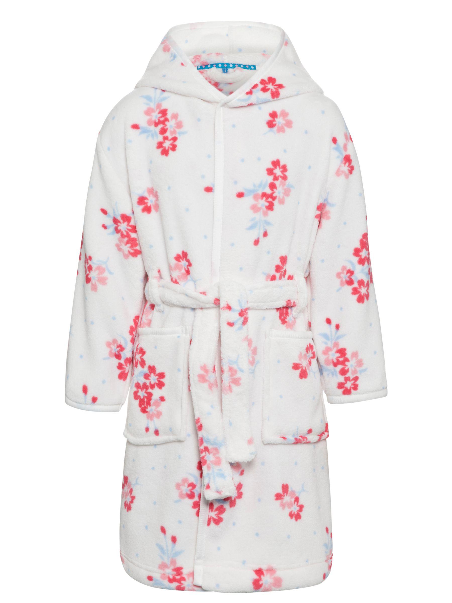 John Lewis Girl Floral Robe, Cream