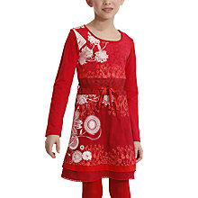 Buy Desigual Nerine Long Sleeve Dress, Red Online at johnlewis.com