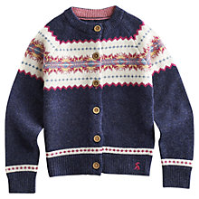 Buy Little Joule Girls' Fair Isle Knitted Cardigan, Blue Online at johnlewis.com