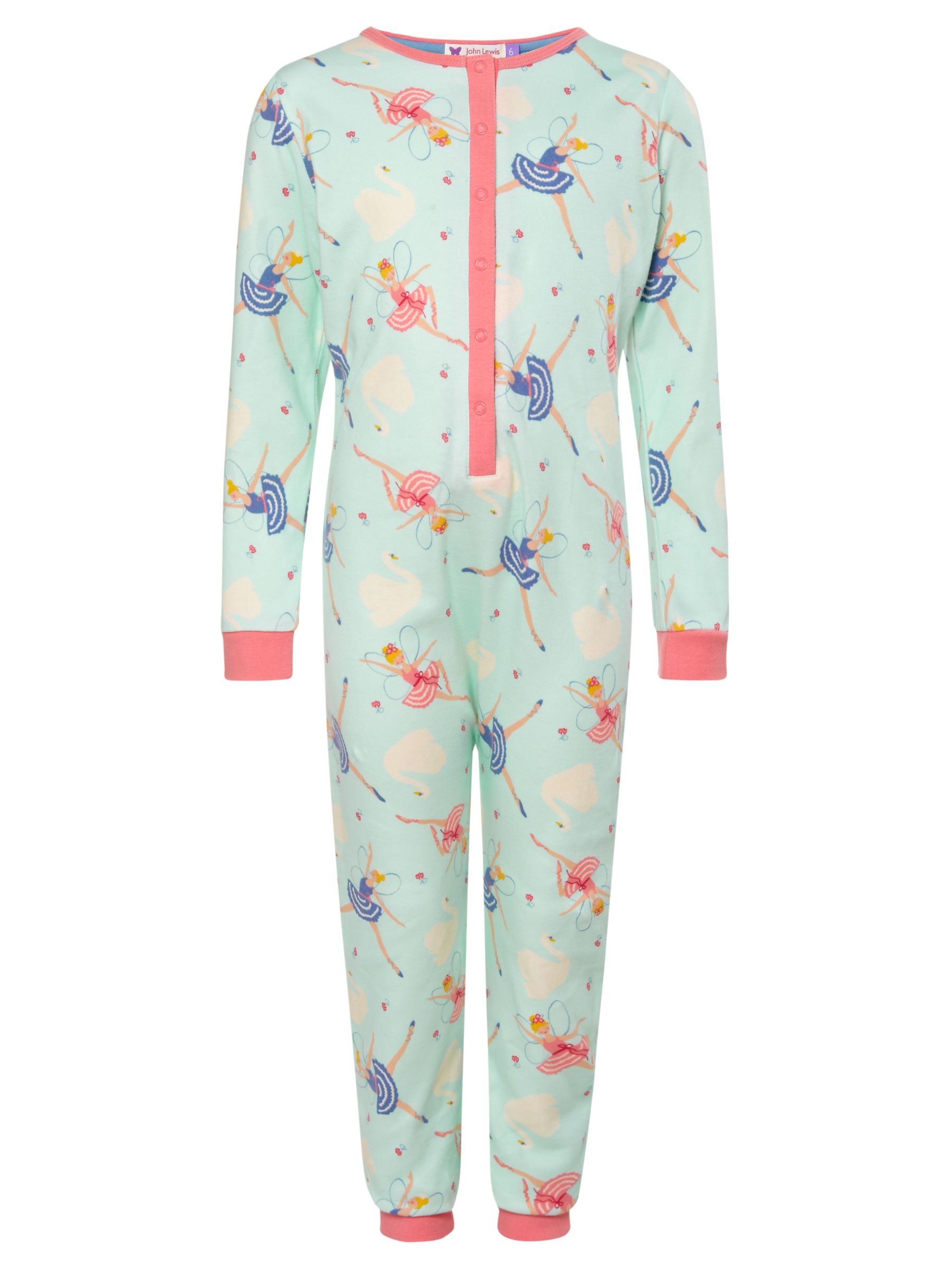 John Lewis Girl Fairy Onesie, Green/Multi