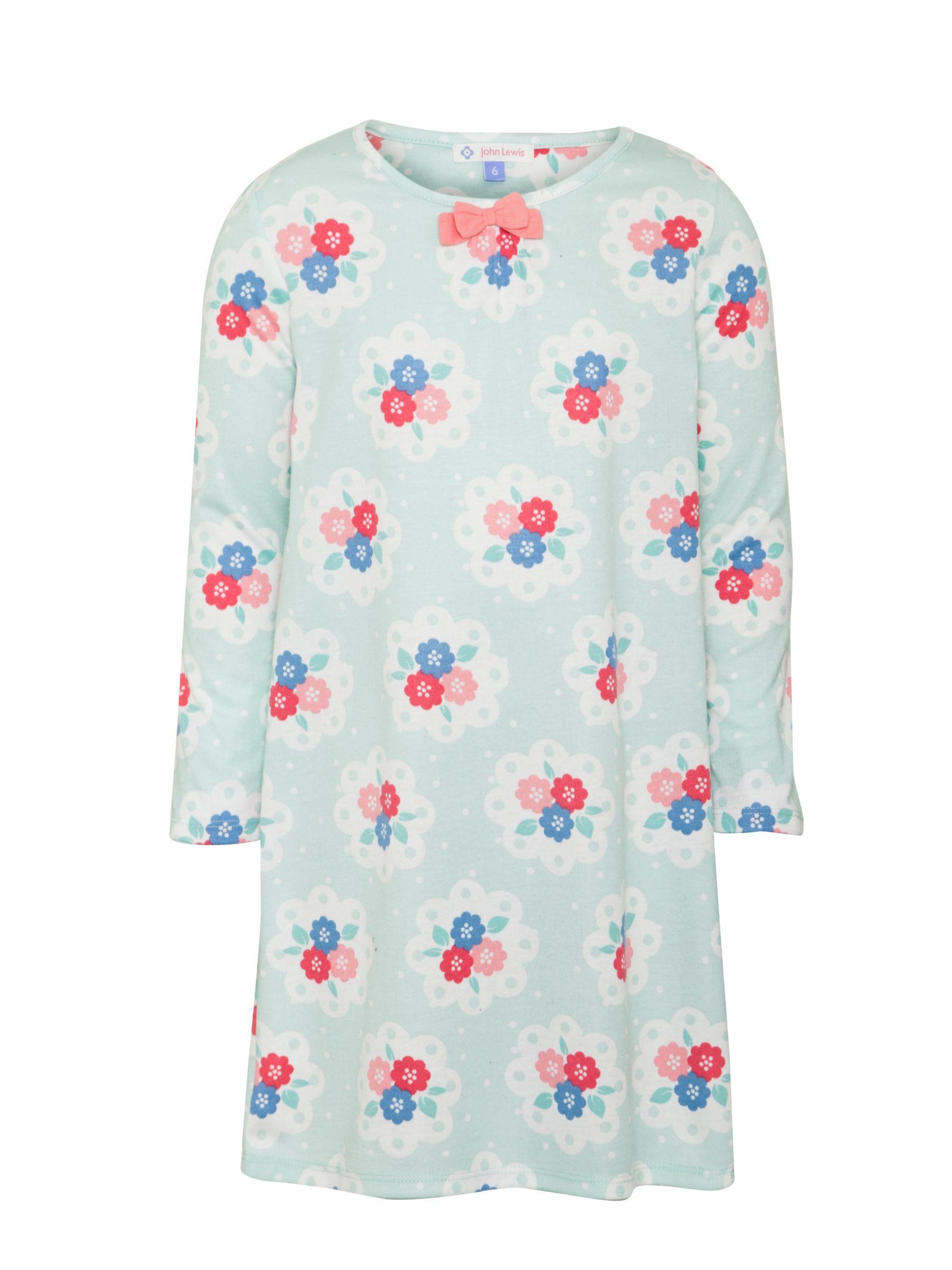 John Lewis Girl Floral Long Sleeve Nightdress, Blue