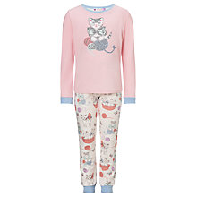 Buy John Lewis Girl Long Sleeve Kitten Pyjamas, Pink/Multi Online at johnlewis.com