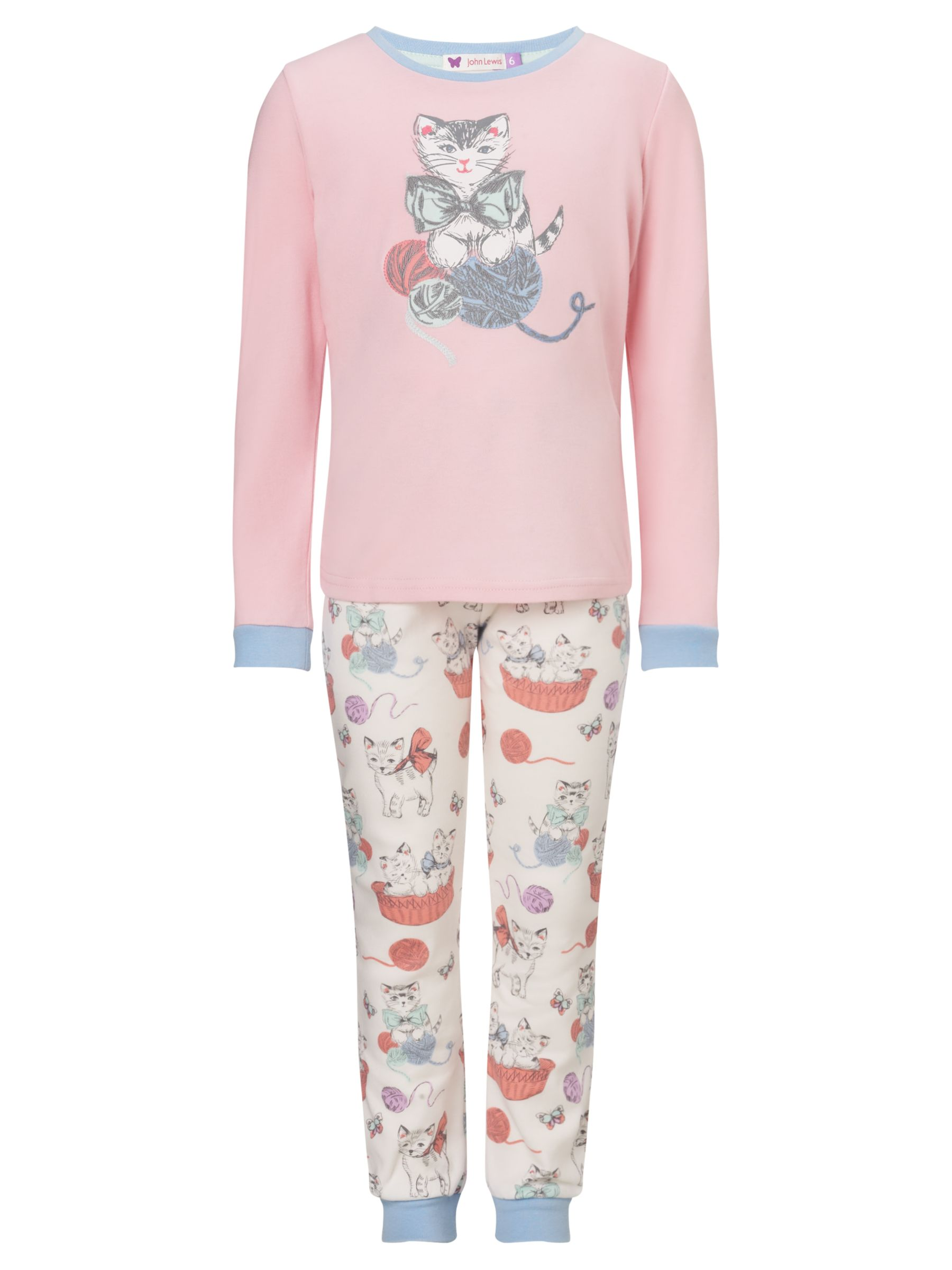 John Lewis Girl Long Sleeve Kitten Pyjamas, Pink/Multi