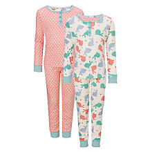 Buy John Lewis Girl Bunny and Spots Long Sleeve Pyjamas, Pack of 2, Multi Online at johnlewis.com