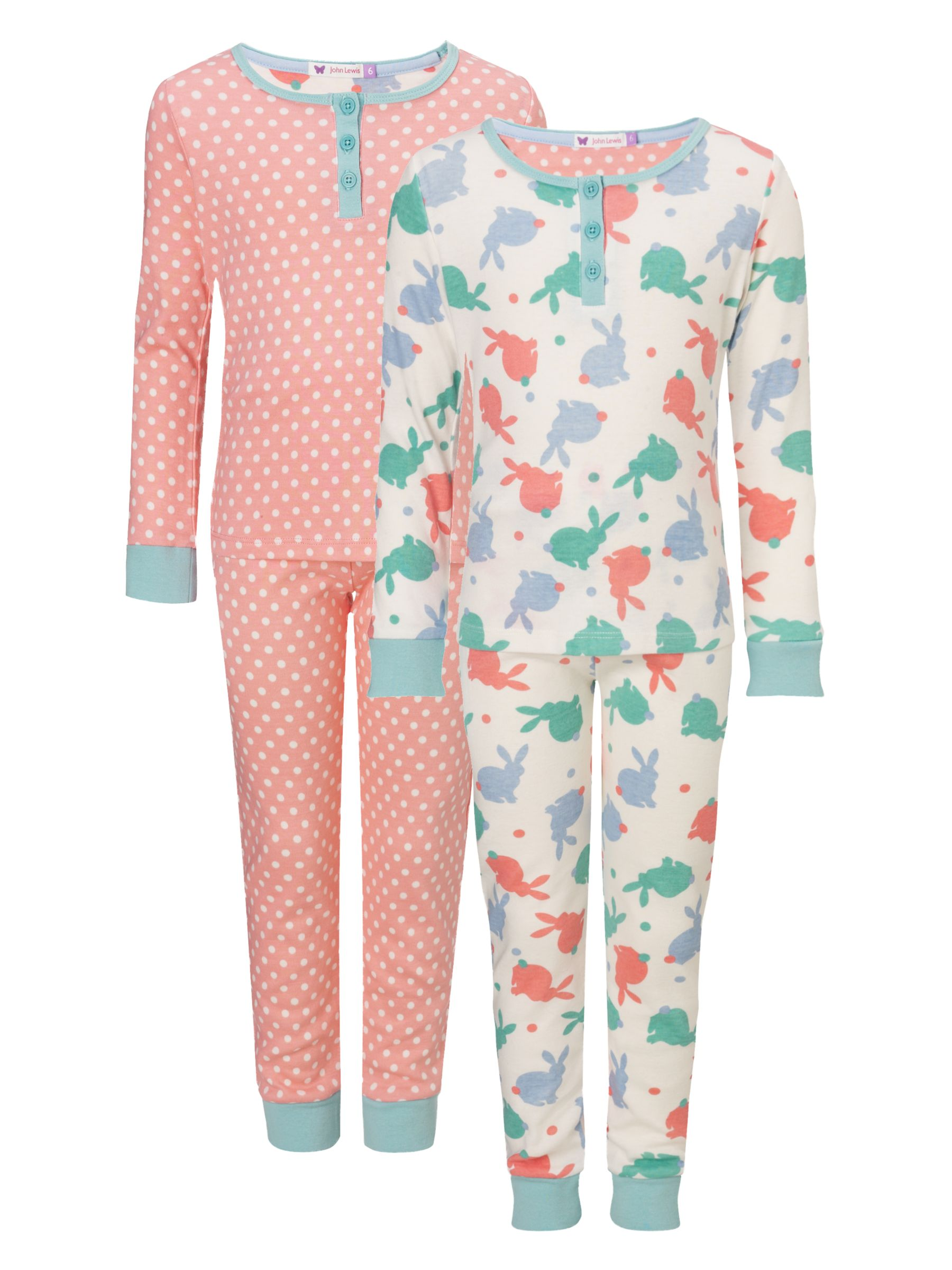 John Lewis Girl Bunny and Spots Long Sleeve Pyjamas, Pack of 2, Multi