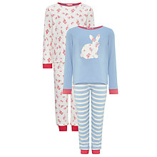 Buy John Lewis Girl Bunny and Floral Print Pyjamas, Pack of 2, Multi Online at johnlewis.com