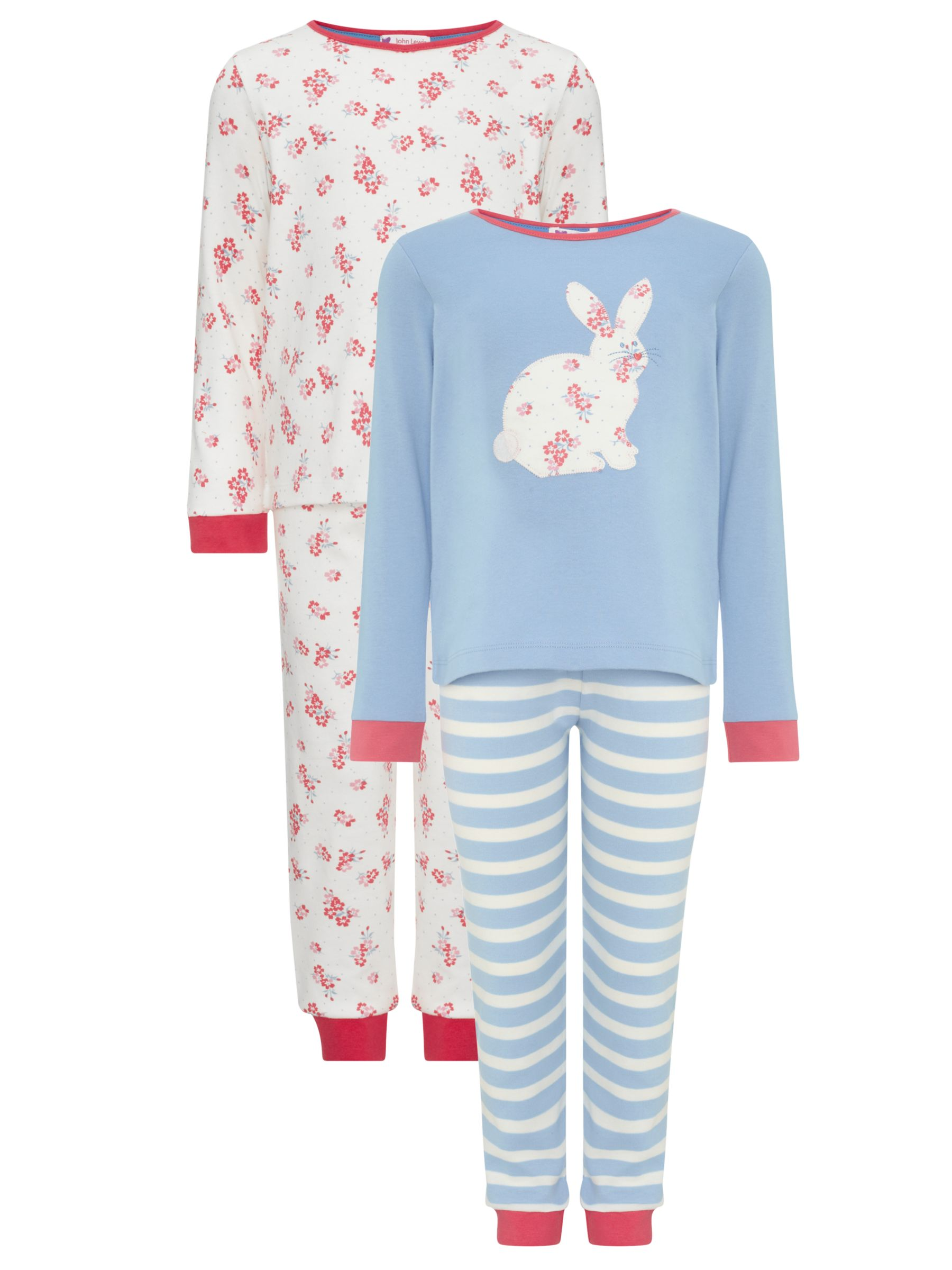 John Lewis Girl Bunny and Floral Print Pyjamas, Pack of 2, Multi